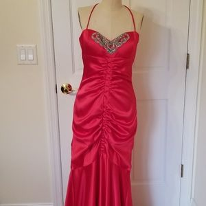Red Ruched Mermaid Prom Dress